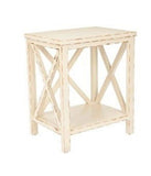 Set of 2 Wooden Otley Rustic White Cross Back End Table lamp stand