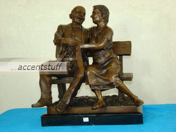 Bronze Grand Father Mother Statue Sculpture Art Figurine