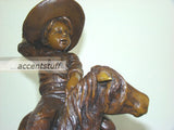 Solid Bronze Little Cowboy pony Horse Statue Sculpture