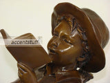 Solid Bronze Statue Boy fishing and reading book Sculpture Figurine Marble base