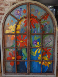 Wooden Italian Window to Garden Original Oil Painting Art Wall Decor