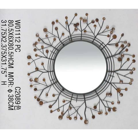 Floral branch patterned metallic decorative round wall mirror