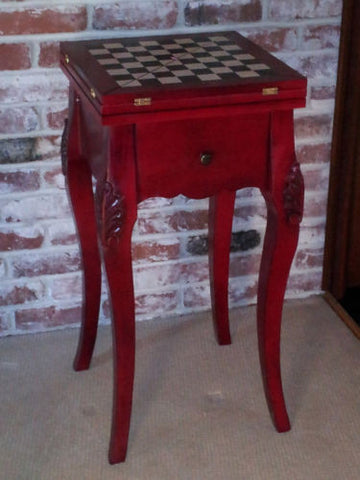 Wooden Mahogany Backgammon/Chess Game/Accent Table