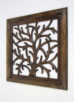 Carved wooden Tree art wall panel, wall hanging
