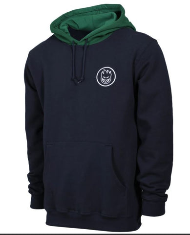 Spitfire Classic Swirl Blocked Hoodie - Navy/Green