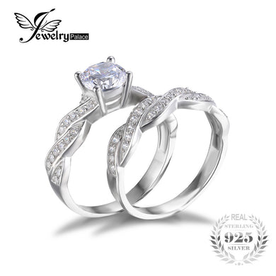 Infinity Simulated Diamond promise rings for her 925 Sterling Silver
