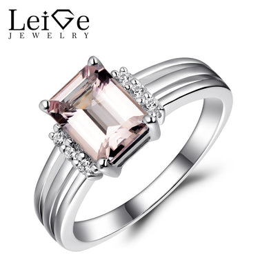 Women's Leige Jewelry Natural Morganite Engagement Promise Rings for Her 925 Fine Silver