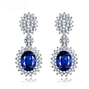 Luxury Fine Jewelry Solid 14K White Gold Genuine Blue Sapphire Wedding Diamond Earring for Women Anniversary Party