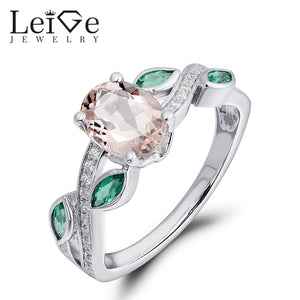 Leige Jewelry Pink Morganite Ring Oval Cut 925 Sterling Silver Engagement Promise Rings For Her