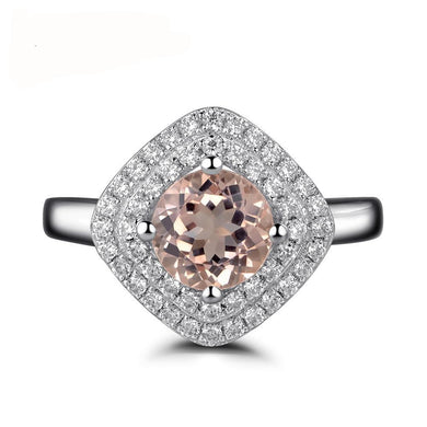 Women's Double Halo Pink 1.30 Carat Morganite Engagement Ring Round Cut Sterling Silver 925