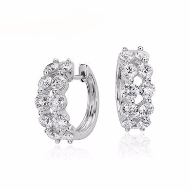 1.9 ct Certified I/S1 Customized Diamond Circle Earrings