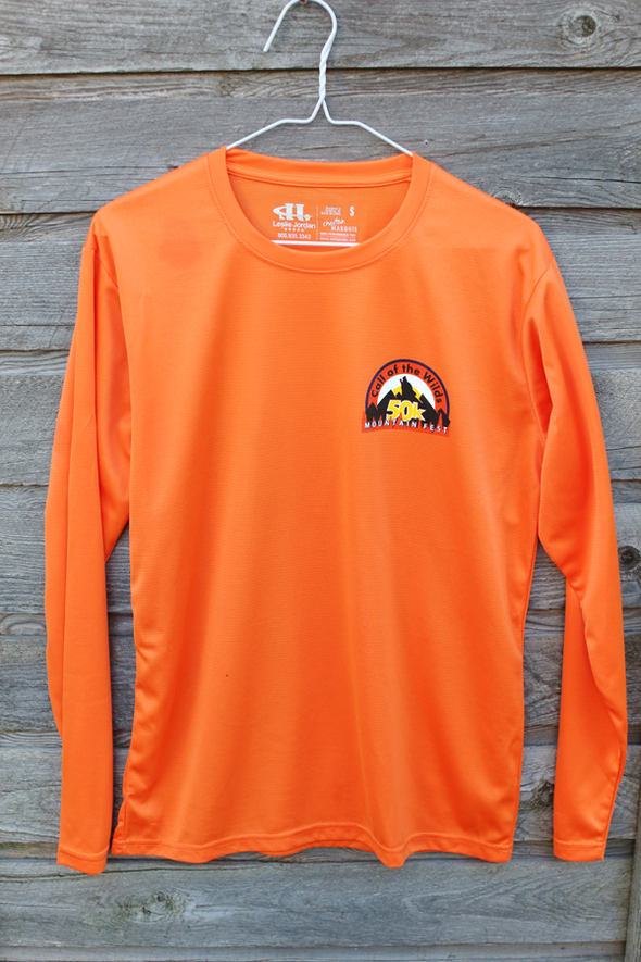 Wilds 50k Men's tangerine long sleeve tech shirt