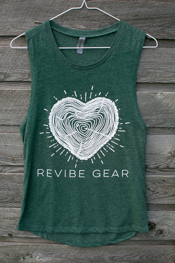 *2019 ReVibe women's forest heart muscle tee - pine