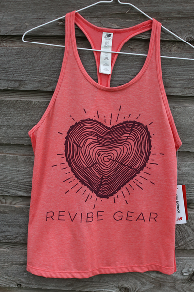 *2019 ReVibe women's forest heart tank - coral