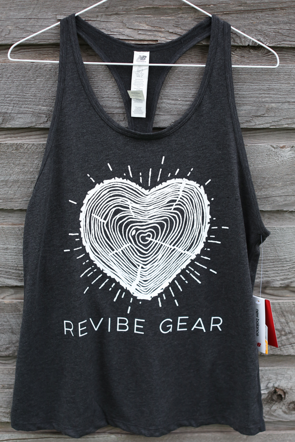 *2019 ReVibe women's forest heart tank - charcoal