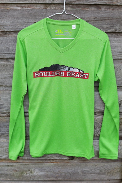 Boulder Beast Women's Green long sleeve tech shirt