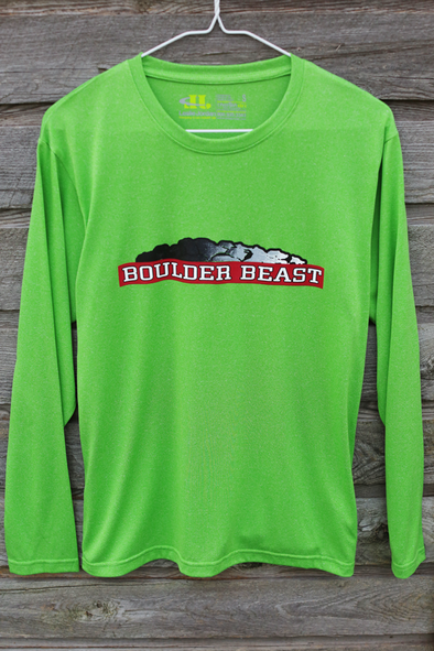 Boulder Beast Men's Green long sleeve tech shirt