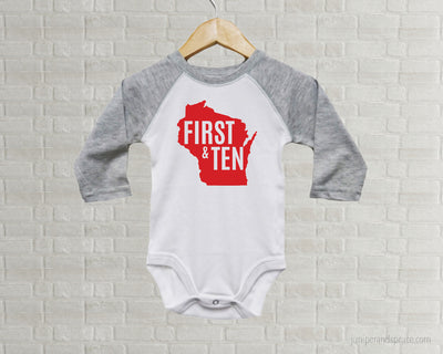 Wisconsin Badgers Baby One Piece - First and 10 Wisconsin