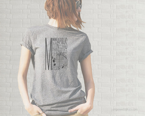 Map of Minneapolis Adult T-Shirt  - Heather Gray