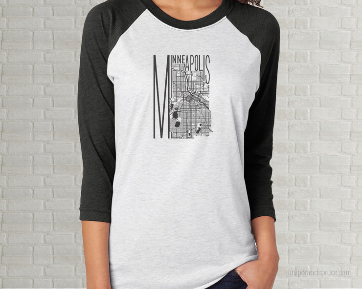 Map of Minneapolis Minnesota Raglan T-Shirt | Adult Unisex Tee Shirt