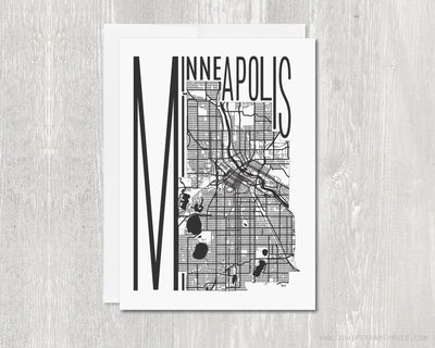 Greeting Card - Minneapolis Map