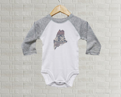 Maine Baby Onesie | Romper | Vintage License Plate Art