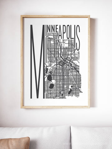 Minneapolis Minnesota Map Print - Minimalist State Art