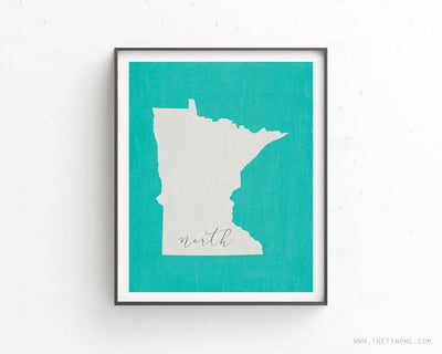 Minnesota North Print - Minimalist State Outline Art