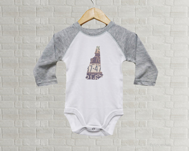 New Hampshire Baby Onesie | Romper | Vintage License Plate Art