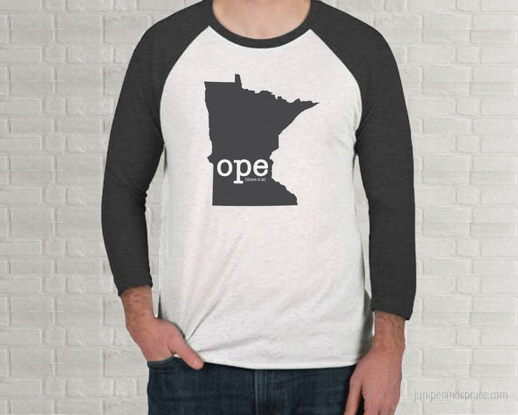 Ope (there it is) Minnesota Raglan T-Shirt | Adult Unisex Tee Shirt