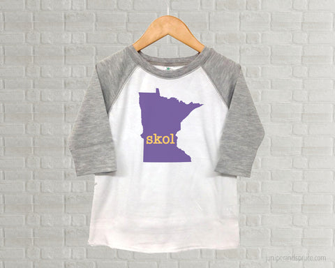 Minnesota Vikings Skol - Youth Raglan T-Shirt