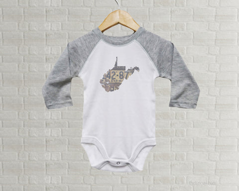 West Virginia Baby Bodysuit | Romper | Vintage License Plate Art
