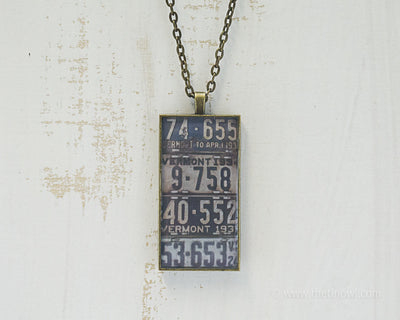 Vermont License Plates Necklace