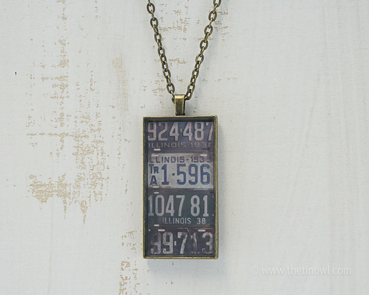 Illinois License Plates Necklace
