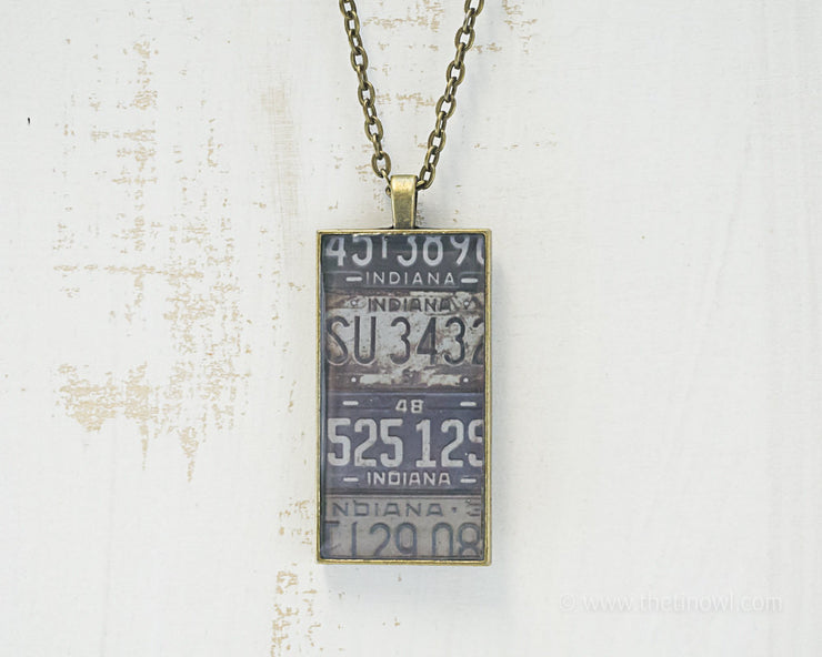 Indiana License Plates Necklace