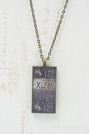 Wyoming License Plates Necklace