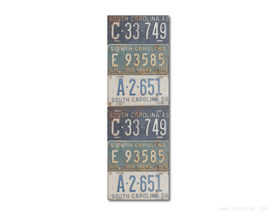 Bookmark - Vintage South Carolina License Plates