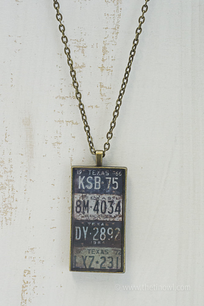 Texas License Plates Necklace