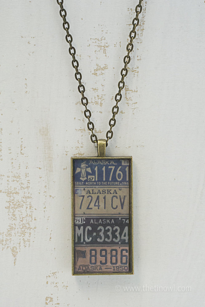 Alaska License Plates Necklace