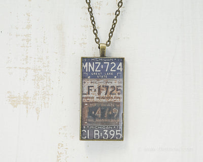Michigan License Plates Necklace