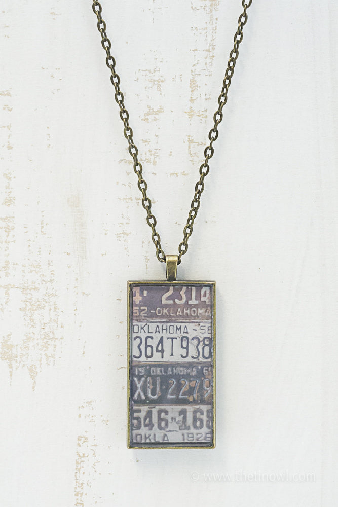 Oklahoma License Plates Necklace