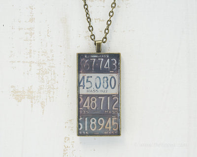 Massachusetts License Plates Necklace