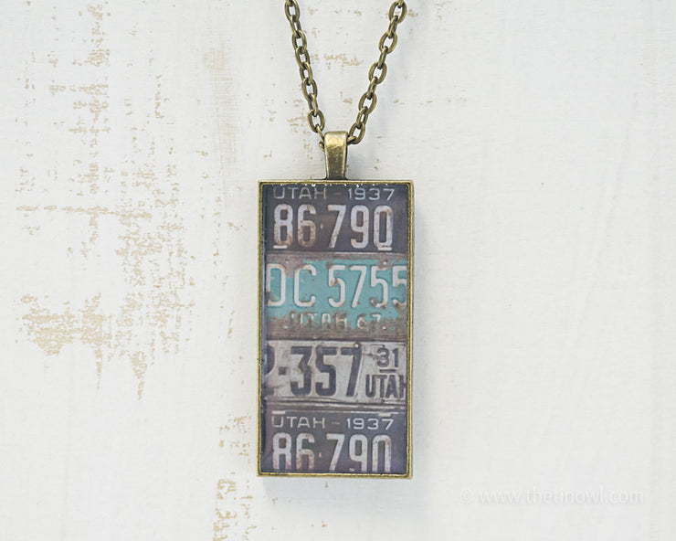 Utah License Plates Necklace