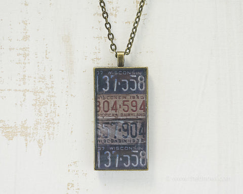 Wisconsin License Plates Necklace
