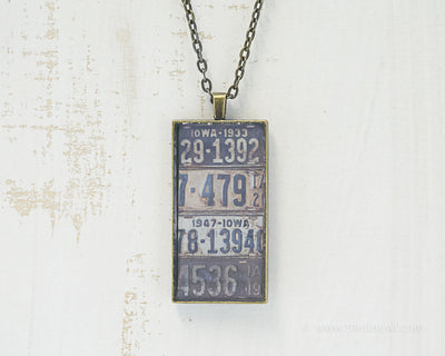 Iowa License Plates Necklace