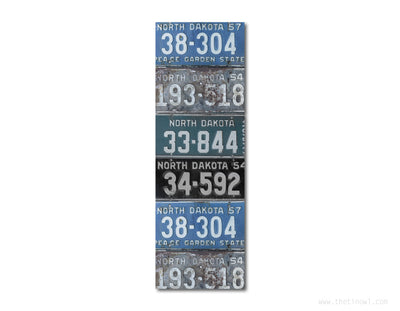 Bookmark - Vintage North Dakota License Plates