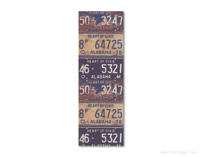 Bookmark - Vintage Alabama License Plates