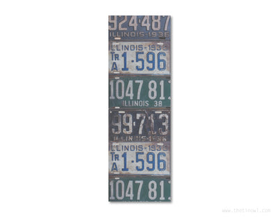 Bookmark - Vintage Illinois License Plates