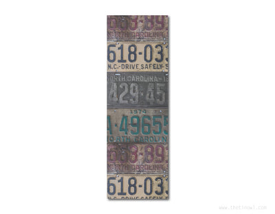 Bookmark - Vintage North Carolina License Plates