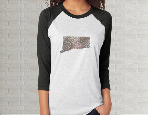 Connecticut Raglan T-Shirt | Adult Unisex Tee Shirt
